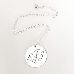 Large Sterling Silver Disc Pendant Necklace