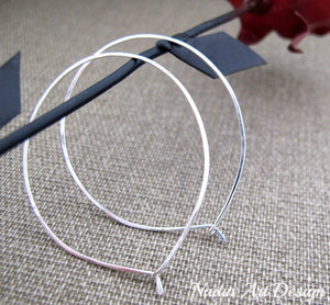 Thin Sterling Silver Teardrop Hoops