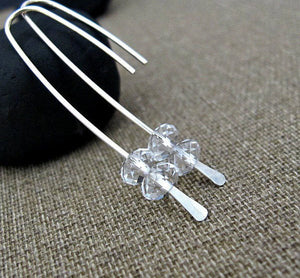 Sterling Silver Long Earrings w/h Quartz Crystals