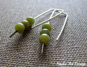 Green beads silver earrings