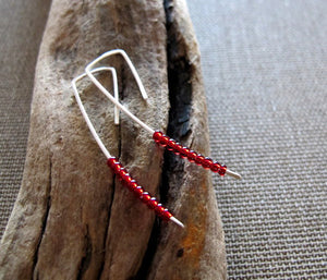Red Beaded Long Earrings