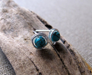Elegant Earrings w/h Turquoise Cracked Stone