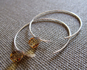 Amber Crystal Hoop Earrings