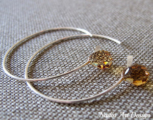 Amber Swarovski Crystal Silver Hoop Earrings