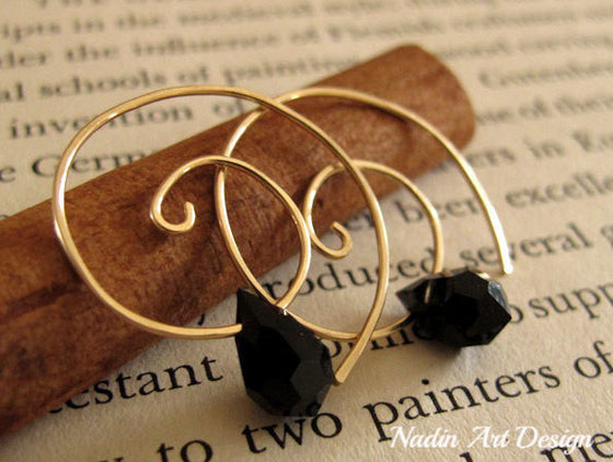 Gold Spiral Earrings & Black Swarovski crystal
