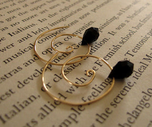 Gold Spiral Earrings & Black crystal