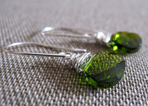 Emerald Swarovski Crystals Dangle Earrings