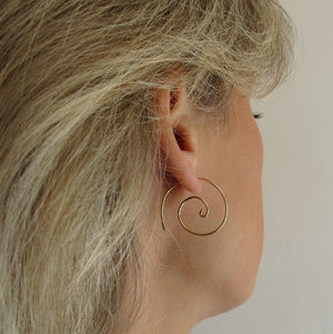 Spiral Yellow Gold Earrings