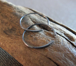 Oxidized Sterling Silver Black Hoops