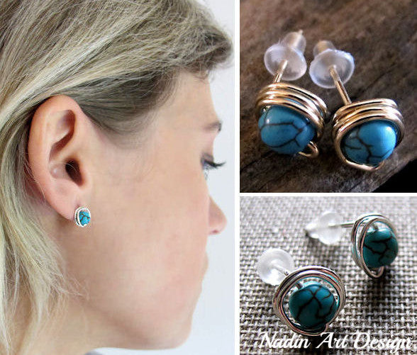 Gold Stud Turquoise Earrings