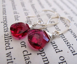 Ruby Crystal Dangle Earrings
