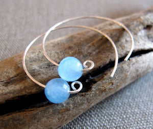 Aquamarine Gem Beads Sterling Silver Hoop Earrings