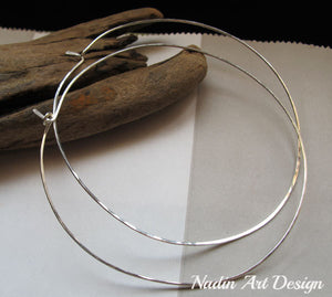 Modern Sterling Silver Hoop Earrings