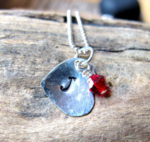 Sterling Silver Birthstone Heart Charm