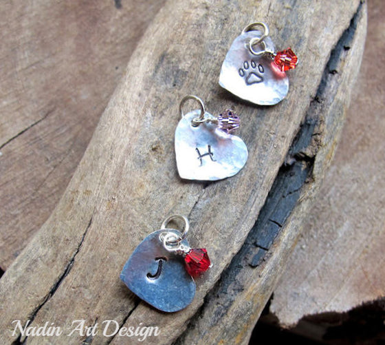 Heart charm with birthstone crystal