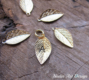 Leaf gold charm with initial