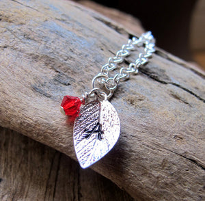 Silver Custom Leaf with Crystal Add on