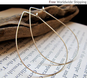 Sterling Silver Teardrop Hoops - Modern Hoop Earrings - Large Tear Drop Hammered Hoops - Geometric Jewelry - Teardrop Earrings / Fashion