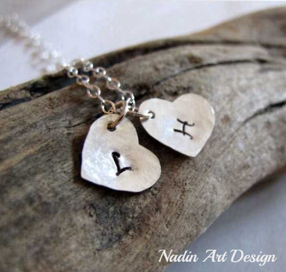 Heart charms initial necklace