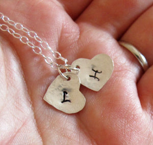 Two Heart Charms Initial Necklace
