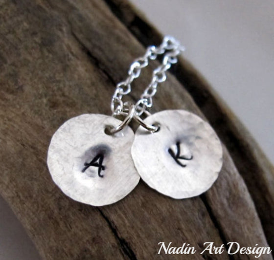 Initial tags silver necklace