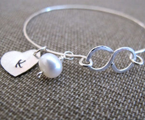 Pearl Charm Heart Bangle Bracelet