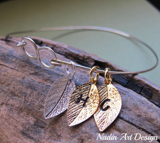 Leaf charms infinity bangle bracelet