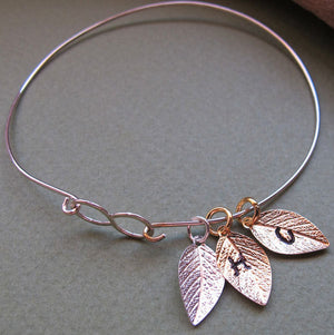 Three Leaf Charms Sterling Silver Bracelet