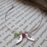 Two Initials Leaf Charms Birthstone Bracelet
