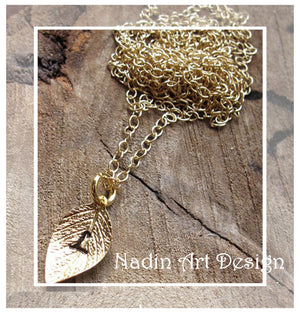 Gold Initial Leaf with Birthstone