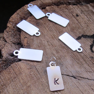 Silver Initial Tag - Rectangle Pendant Tag