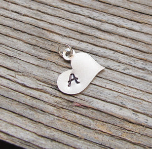 Heart Initial Charm - Personalized Pendant