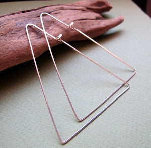 Triangle Hoop Earrings, Sterling Silver Earrings. Geometric Hoops, Modern Jewelry Design, Modern Earrings - Triangle Earrings
