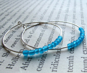 Fashion Sterling Silver Hoops with Blue Beads