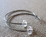 Quartz Crystals Sterling Silver Hoop Earrings