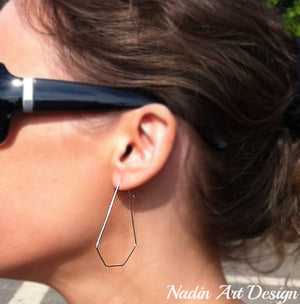 Big geometric silver hoops