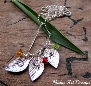 Leaf charms with initials and birthstones necklace