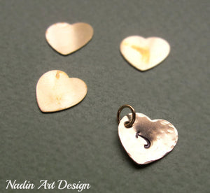 Hammered heart initial charm