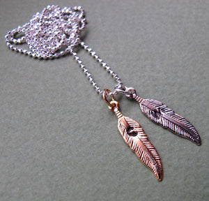 Personalized Feathers Charm Necklace