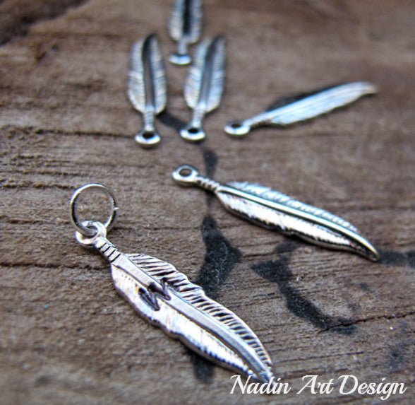 Letter engraved feather charm