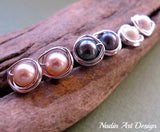 Silver wrapped color pearl earrings