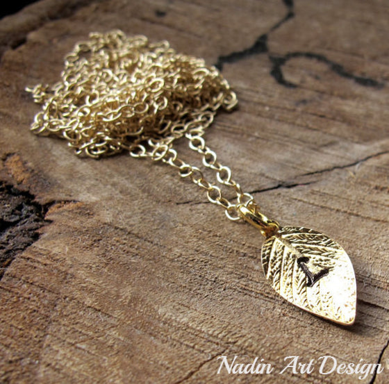 Initial charm leaf necklace