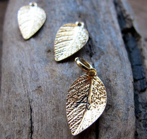 Gold Leaf Charm Necklace - Gift for Her