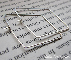 Geometric silver hoop earrings