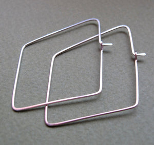 Rhombus Sterling Silver Hoop Earrings