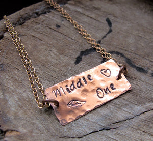 Engraved Rectangle Bar Tag Necklace
