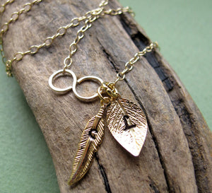 Initial Leaf and Feather Charm Gold Infinity Necklace