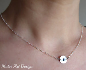 Initial charm silver necklace