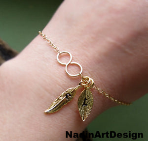 Infinity Bracelet with Personalized Leaf, Feather Charms