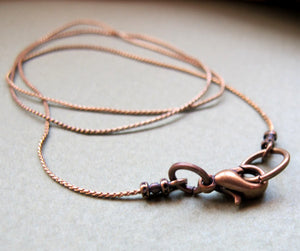 Copper Snake Thin Chain Necklace